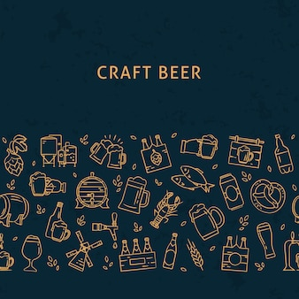 Donker naadloos horizontaal patroonbier van handgetekende pictogrammen rond het thema van bier. handgetekende plat pictogrammen in patroon.