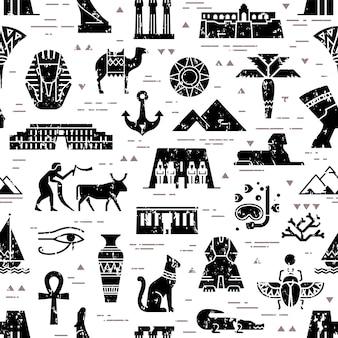 Donker naadloos patroon van symbolen, oriëntatiepunten en tekens van egypte