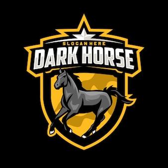 Donker paard mascotte logo