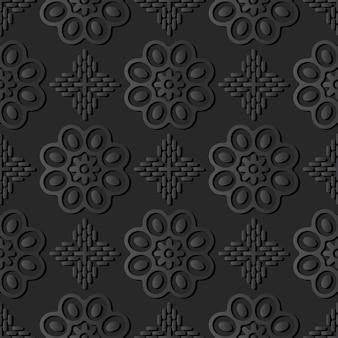 Donker papier kunst ronde curve cross flower, vector stijlvolle decoratie patroon achtergrond
