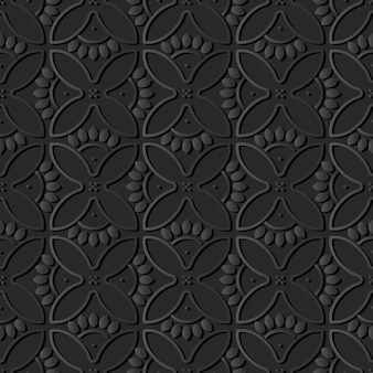 Donker papier kunst ronde kromme kruis bloemblaadjes, vector stijlvolle decoratie patroon achtergrond