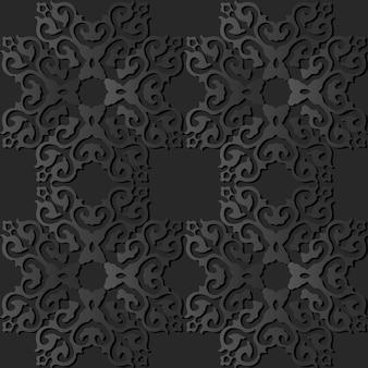 Donker papier kunst square curve cross crest frame
