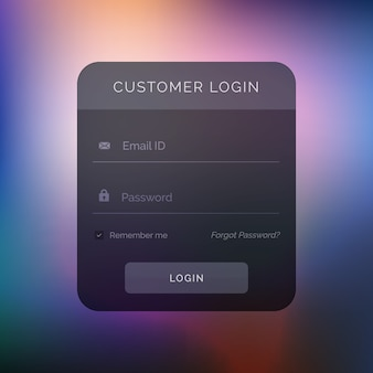 Donker user interface design voor login template