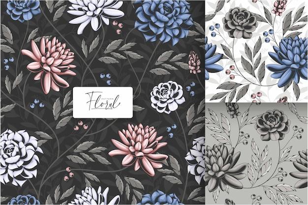 Donker vintage tropisch bloemen naadloos patroon