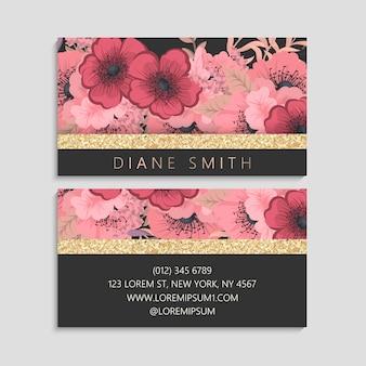 Donker visitekaartje met mooie bloemen. sjabloon