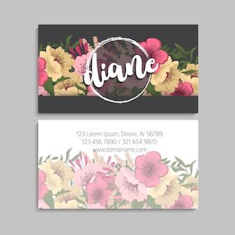 Donker visitekaartje met mooie bloemen.