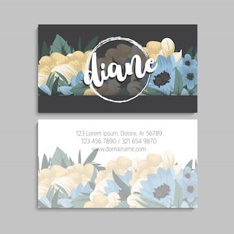 Donker visitekaartje met prachtige bloemen
