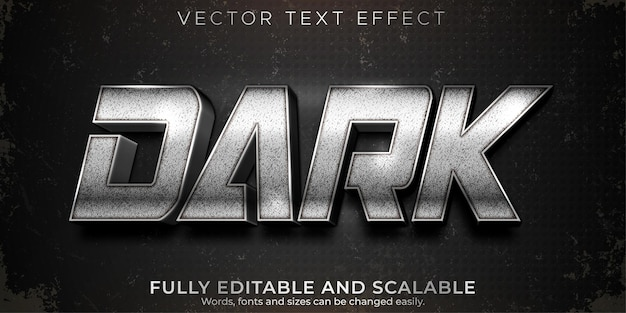Donker zilver bewerkbaar teksteffect, metallic en glanzende tekststijl