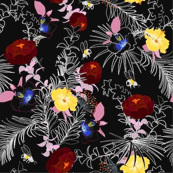 Donker zomer onvoltooide bloemen