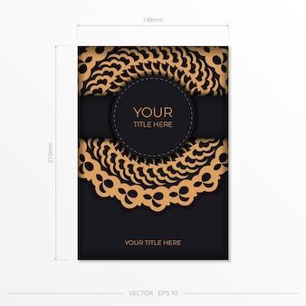 Donker zwart goud ansichtkaart sjabloon met witte indiase ornamenten. elegante en klassieke vectorelementen klaar voor print en typografie.
