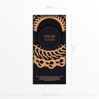 Donker zwart gouden briefkaartsjabloon met wit abstract mandalaornament. elegante en klassieke vectorelementen zijn geweldig voor decoratie.