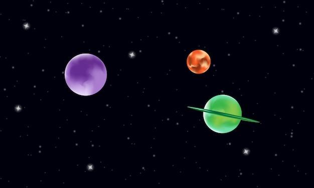 Donker zwart vectorpatroon met melkweg met sterren illustratie met kleurrijke planet