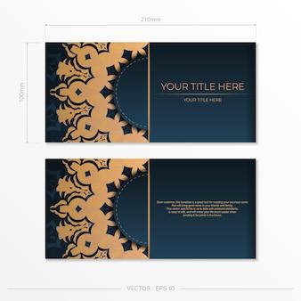 Donkerblauw briefkaartsjabloon met abstract mandalaornament. elegante en klassieke elementen klaar voor print en typografie. vector illustratie.