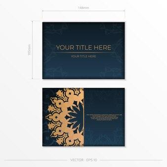 Donkerblauw briefkaartsjabloon met abstract mandalaornament. elegante en klassieke elementen zijn geweldig om te decoreren. vector illustratie.