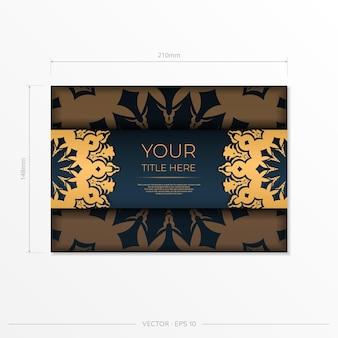 Donkerblauw briefkaartsjabloon met abstract ornament. elegante en klassieke elementen klaar voor print en typografie. vector illustratie.