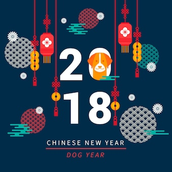 Donkerblauw Chinees nieuw jaarontwerp