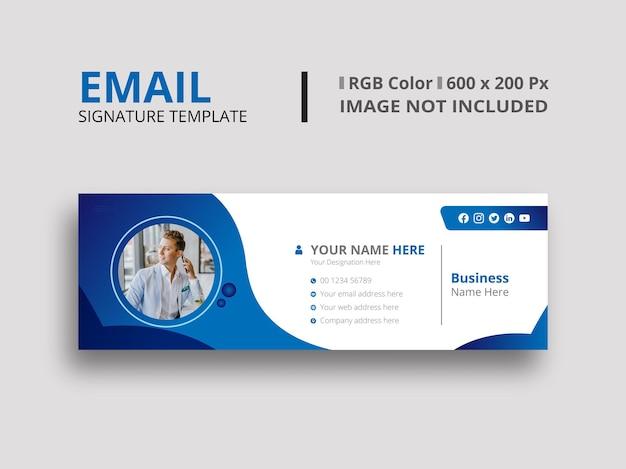 Donkerblauw e-mailhandtekeningontwerp