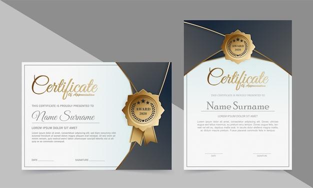 Donkerblauw en goud certificaatsjabloonontwerp