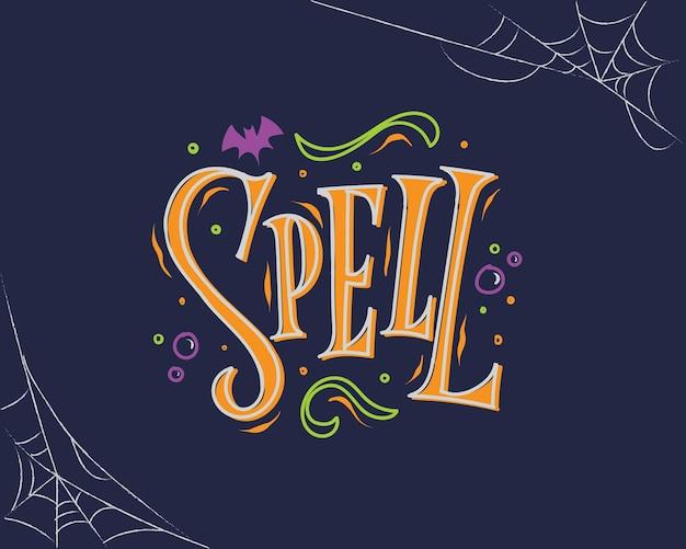 Donkerblauw en oranje spell halloween-letters met spinnenwebachtergrond