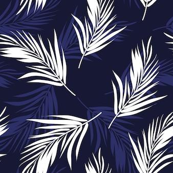 Donkerblauw en wit naadloos patroon met palmboombladeren