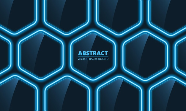 Donkerblauw glas zeshoekige abstracte achtergrond met blauwe neonlichten