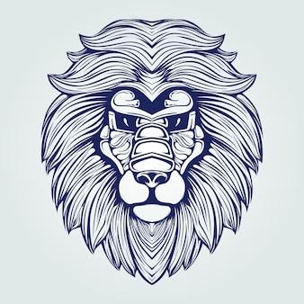 Donkerblauw leeuwenkop lijntekeningen
