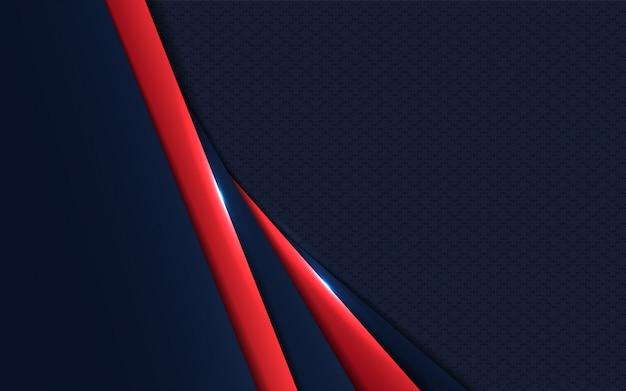 Donkerblauw met rode papieren vormen overlappen de achtergrond