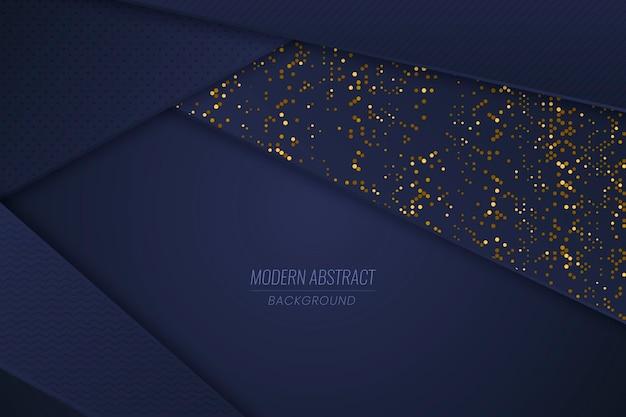 Donkerblauw papierlagenbehang met gouden details