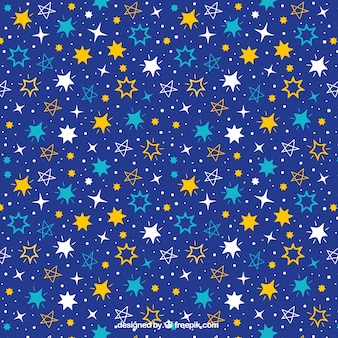 Donkerblauw patroon met verscheidenheid van de hand getekende sterren