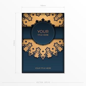 Donkerblauw uitnodigingskaartsjabloon met abstract ornament. elegante en klassieke elementen klaar voor print en typografie. vector illustratie.