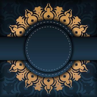 Donkerblauw uitnodigingskaartsjabloon met abstract ornament. elegante en klassieke elementen zijn geweldig om te decoreren. vector illustratie.