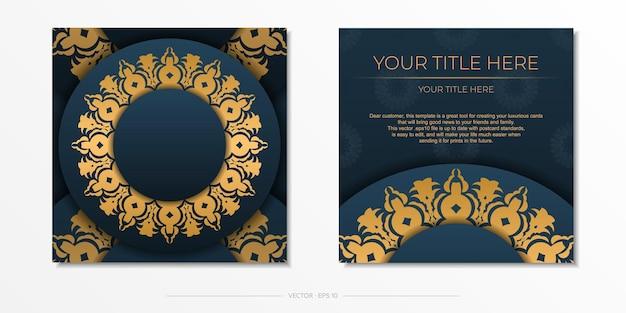 Donkerblauw uitnodigingskaartsjabloon met abstract ornament. elegante en klassieke vectorelementen zijn geweldig voor decoratie.