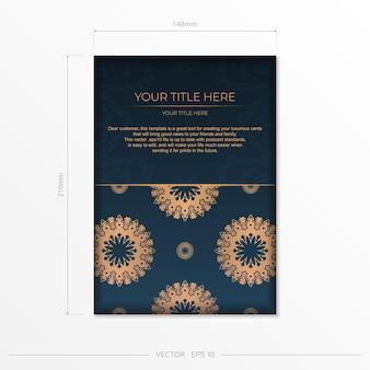 Donkerblauw uitnodigingskaartsjabloon met indiase sieraad. elegante en klassieke elementen klaar voor print en typografie. vector illustratie.