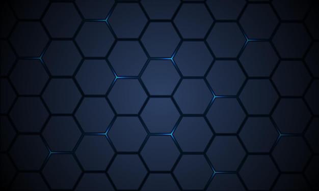Donkerblauw zeshoekig patroon technologie abstracte achtergrond met heldere flitsen
