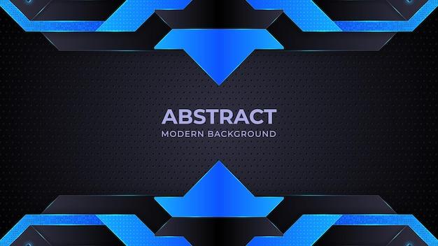 Donkerblauwe abstracte achtergrondgeometrie glans en laagelementvector voor presentatieontwerp