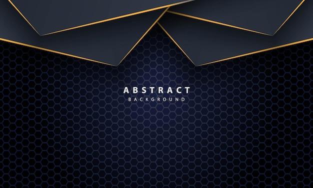 Donkerblauwe abstracte zeshoekachtergrond met gouden lijnverloopvormen. ontwerpsjabloon voor banner, posters, omslag, enz.