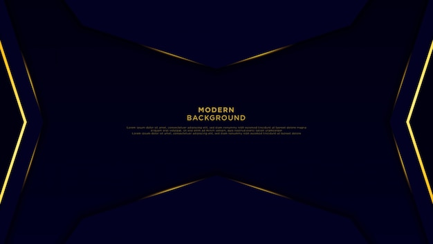 Donkerblauwe abstracte zwarte overlappende lagen als achtergrond. gouden pijl en glanzende lijn op luxe achtergrondvector.