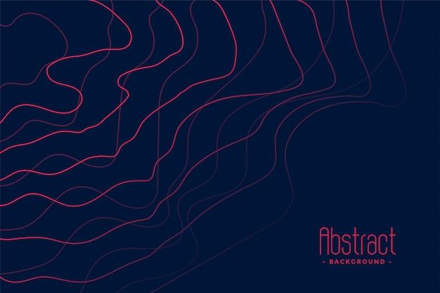 Donkerblauwe achtergrond met abstracte roze lijnen