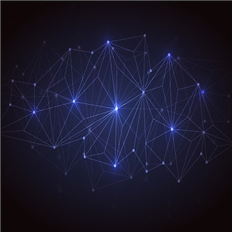 Donkerblauwe achtergrond met een aangesloten lijnen
