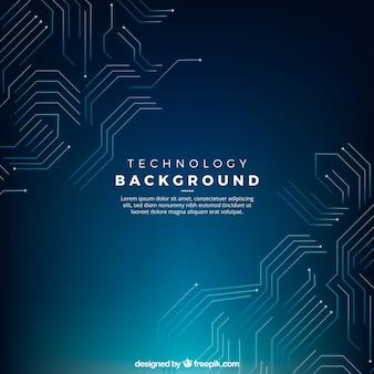 Donkerblauwe achtergrond met een technologische circuits