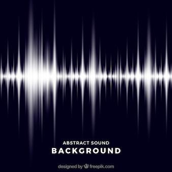 Donkerblauwe achtergrond met glanzende geluidsgolf