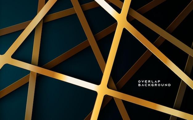 Donkerblauwe achtergrond met gouden overlappende lagen