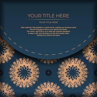 Donkerblauwe ansichtkaartsjabloon met indiase mandala-ornament. elegante en klassieke elementen klaar voor print en typografie. vector illustratie.