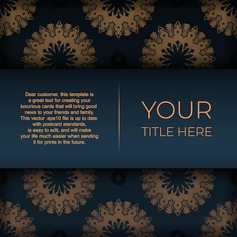 Donkerblauwe ansichtkaartsjabloon met indiase mandala-ornament. elegante en klassieke vectorelementen klaar voor print en typografie.
