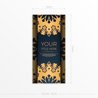 Donkerblauwe ansichtkaartsjabloon met indiase sieraad. elegante en klassieke elementen klaar voor print en typografie. vector illustratie.