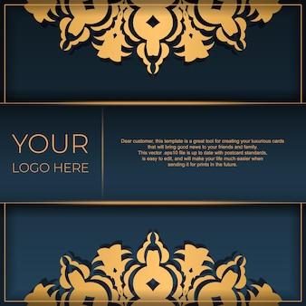 Donkerblauwe ansichtkaartsjabloon met indiase sieraad. elegante en klassieke vectorelementen klaar voor print en typografie.