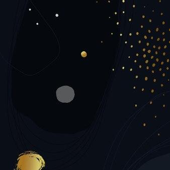Donkerblauwe artistieke achtergrond met gouden confetti. vector illustratie.