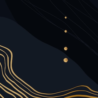Donkerblauwe artistieke achtergrond met gouden details en lijnen. vector illustratie.