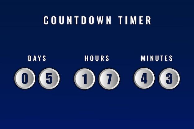 Donkerblauwe dagen uren en minuten resterende countdown timer