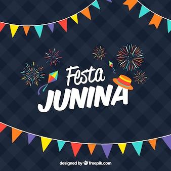 Donkerblauwe festa Junina achtergrond